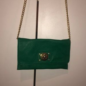 Mud Pie Green and Gold Crossbody